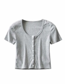 Fashion Flower Gray Threaded Single-breasted T-shirt Cardigan