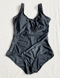 Fashion Black Ruffled One Piece Swimsuit