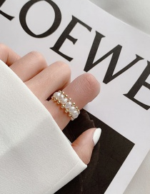 Fashion White D Natural Freshwater Pearl Stretch Woven Ring