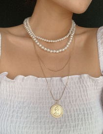 Fashion Golden Round-shaped Portrait Pearl Stack Necklace