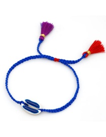 Fashion Blue Ribbon Lucky Me Colorful Flower Rice Beads Woven Pineapple Natural Shell Bracelet