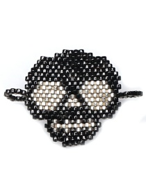 Fashion Bright Black Bead Woven Skull Accessories