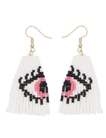 Fashion White + Pink Bead Woven Eye Tassel Earrings