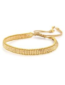 Fashion Golden Rice Bead Woven Love Stud Pentagram Bracelet