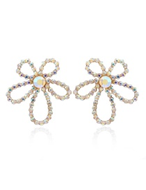 Fashion Ab Drill Hollow Flowers And Diamond Earrings