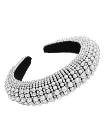 Fashion Pearl White Stringed Pearl Corduroy Wide Version Thickened Sponge Headband