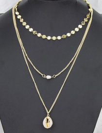 Fashion Golden Natural Shell Alloy Chain Multi-layer Necklace