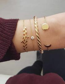 Fashion Golden Alloy Leaf Diamond Bracelet Set