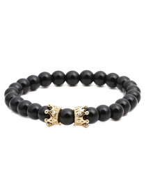 Fashion Bright Dumb Black Stone Crown Frosted Stone Large Crown Beaded Bracelet