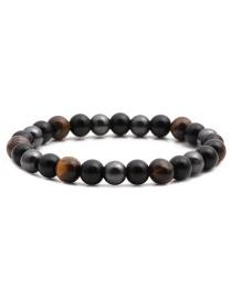 Fashion Black Coffee Beaded Bracelet With Tiger Eye Stone