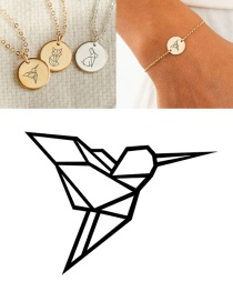 Fashion Steel Color Stainless Steel Carved Bird Geometric Round Bracelet 13mm