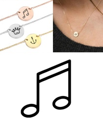 Fashion Golden Titanium Steel Stainless Steel Engraved Note Double Hole Round Necklace 9mm