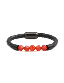 Fashion Red 8mm Diamond Cut Agate Beaded Stainless Steel Magnetic Buckle Leather Bracelet