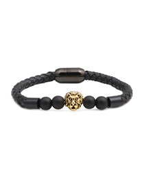 Fashion Golden 8mm Black Frosted Lion Head Stainless Steel Magnetic Buckle Leather Bracelet