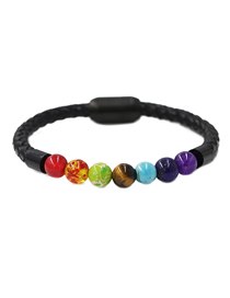 Fashion Color Mixing Seven Chakra Energy Stone Stainless Steel Magnetic Buckle Bracelet 18cm