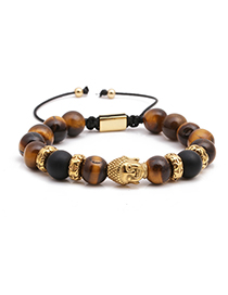 Fashion Golden Tiger Eye Stone Stainless Steel Woven Adjustable Buddha Head Bracelet