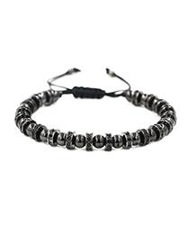 Fashion Grab Black Micro-set Black Zirconium Woven Adjustable Bead Adjustable Bracelet