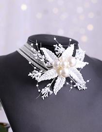 Fashion White Handmade Pearl Flower Lace Twigs