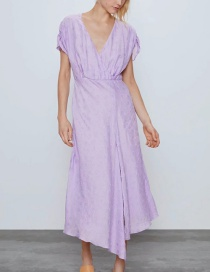Fashion Purple Textured Cross-neck Leaky Back Dress