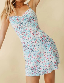 Fashion Color Flower-print Open-back Strapless Pleated Dress