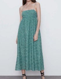 Fashion Lake Green Textured Suspender Pleated Dress