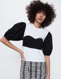 Fashion Black And White Colorblock Crew Neck T-shirt