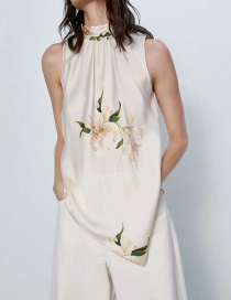 Fashion Beige Sleeveless Shirt With Printed Silk Bow
