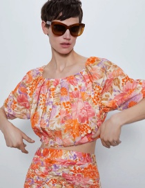 Fashion Orange Floral Print Pleated Crop Top