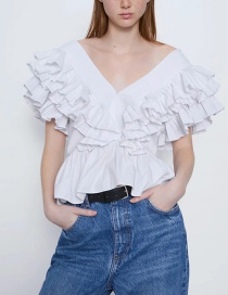Fashion White Ruffled Poplin V-neck Panel Cropped Top