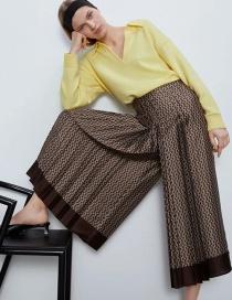 Fashion Brown Printed Patchwork Loose Wide-leg Pants