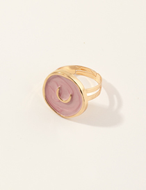 Fashion Pink Alloy Dripping Moon Geometric Round Ring