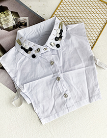 Fashion White Cloth Resin Rice Bead Breasted Fake Collar