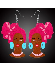 Fashion Rose red Woman head contrast color wooden earrings