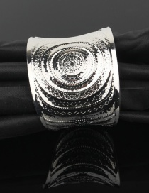 Fashion Silver Metal ethnic carved geometric alloy bracelet