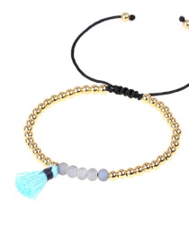 Fashion Light blue Hand-woven tassel real gold electroplated copper bead bracelet