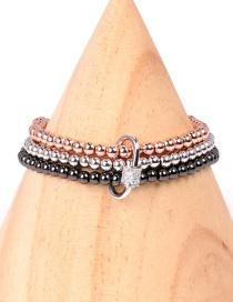 Fashion Round Multi-layer elastic rope hand-beaded buckle zircon round bracelet