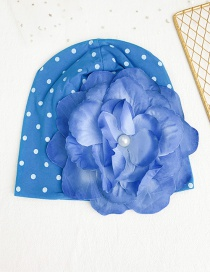 Fashion Blue Children's Fabric Dot Flower Hat