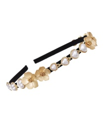 Fashion Golden Alloy Pearl Flower Love Hair Hoop