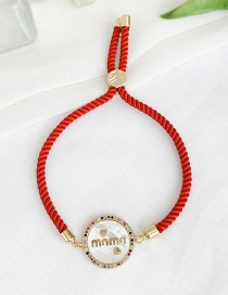 Fashion red Cubic Zircon Shell Letter Mama Round Braided Wire Rope Bracelet