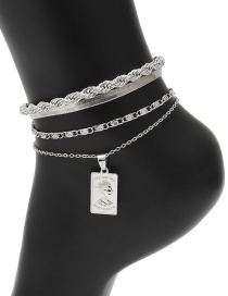 Fashion White K Chain Square Brand Portrait Multilayer Anklet Set