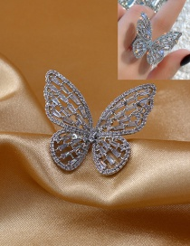 Fashion Silver Zircon Butterfly Hollow Alloy Ring