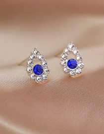 Fashion Silver Drop-shaped Hollow Alloy Earrings With Rhinestones
