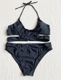Fashion Black Tie Cutout Split Swimsuit