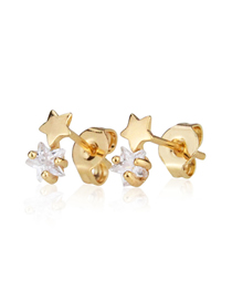 Fashion Gold-plated White Zirconium Small Studded Star Stud Earrings With Zirconium