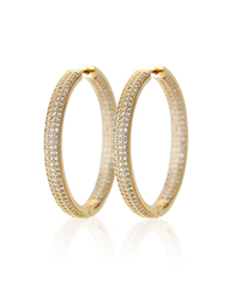 Fashion Gold-plated White Zirconium Cu-plated Three-row Round Earrings With Zirconium On Both Sides