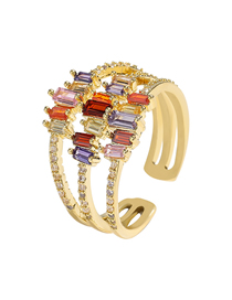 Fashion Golden Multi-layer Copper Micro-set Colorful Zircon Opening Adjustable Ring