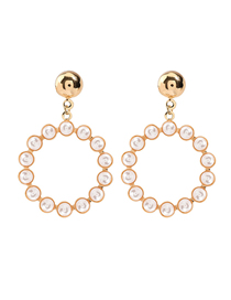 Fashion Golden Round Alloy Earrings With Pearls