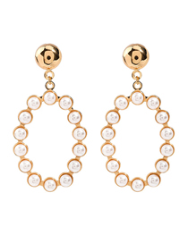 Fashion Golden Geometric Oval Alloy Pearl Earrings