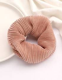 Fashion Brown Vertical Striped Pleated Fabric Bowel Hair Rope