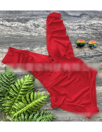 Fashion Red Button Ruffled Triangle One-piece Swimsuit